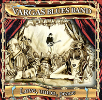 "Diseño e ilustración de Disco ""Love, union, peace"" de la Vargas Blues Band.. A Design&Illustration project by Pachi Santiago         - 25.01.2010"