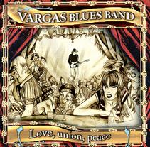 """Diseño e ilustración de Disco """"Love, union, peace"""" de la Vargas Blues Band.. Um projeto de Design e Ilustração de Pachi Santiago  - 25-01-2010"""