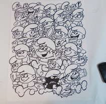 Mural de mas de 1000 personajes sobre el mundo del comic ,animacion y el videojuego hoy :101 pitufos . A Illustration project by david  alcala cerrada - 14-01-2014