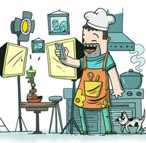 El día del padre tecnológico. Samsung. Un proyecto de Ilustración de Óscar Lloréns - Miércoles, 26 de marzo de 2014 00:00:00 +0100
