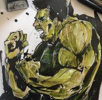 Ink Hulk. A Illustration project by Ismael Alabado Rodriguez - Oct 03 2014 12:00 AM
