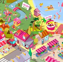 Ilustraciones para Juego en Facebook. Pink Lady.. Un proyecto de Dirección de arte, Diseño e Ilustración de Óscar Lloréns - Miércoles, 29 de octubre de 2014 00:00:00 +0100