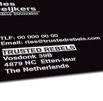 "Marketing para la agencia Holandesa ""Trusted Rebels"". A Advertising, Photograph, Art Direction, Br, ing, Identit, Graphic Design, Packaging, and Product Design project by Sandra Sanz         - 26.03.2015"
