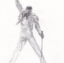 Freddie Mercury a lápiz. A Illustration, and Fine Art project by Guillermo Celemín Mendoza - 17-07-2015