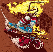Ghost Rider Downhill Skater. A Illustration project by Marcos Cabrera         - 02.09.2015