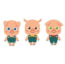 Character Design- 3 Little Pigs. A Illustration, Character Design, and Fine Art project by Núria  Aparicio Marcos - 13-09-2015