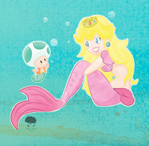 Princess Mermaid Peach. A Illustration, and Character Design project by Alana García Ortega - 14-02-2016