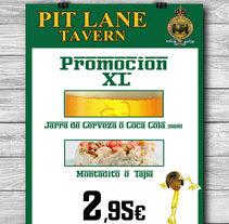 Carteles Cervecería Pit Lane, Centro Comercial Zemtrum, La Palma del Condado, Huelva.. A Graphic Design project by Maite Serna         - 07.01.2015