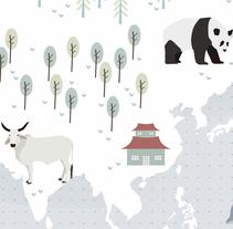 Animal Map of the World. Un proyecto de Ilustración de edurne          - 20.03.2016
