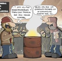 Proyecto final: huelga en Francia / Despidos en el Santander. Un proyecto de Ilustración, Diseño gráfico y Comic de Borja          - 31.03.2016