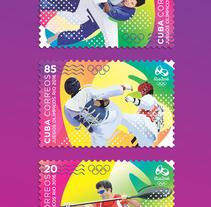 Juegos Olímpicos Rio 2016. Sello postal. Un proyecto de Ilustración y Diseño gráfico de Roberto Roiz - Viernes, 15 de abril de 2016 00:00:00 +0200