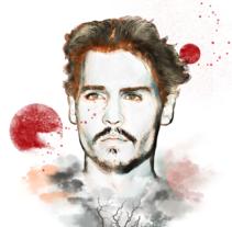 Johnny, retrato para mi proyecto final. A Illustration, and Graphic Design project by Eli Piozza Iniesta         - 09.10.2016