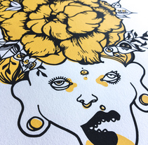 Serigrafía en papel de una de mis txamanas. A Illustration, Graphic Design, and Screen-printing project by Raquel Requejo         - 05.11.2016