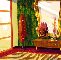 Environments - The african saloon. A Illustration, Animation&Interior Design project by Lorena Loguén - 10-06-2017