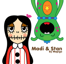 Madi & Stan, Mi Proyecto del curso: Crea un Art Toy. Um projeto de Design, Design de personagens e Ilustración vectorial de María González         - 14.07.2017