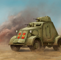 UNL-35. Blindado Guerra Civil Española. A Illustration, and Packaging project by Rubén Megido         - 14.09.2017