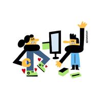 Comerç - Ajuntament Amposta. Un proyecto de Ilustración, Diseño de personajes e Ilustración vectorial de Hernán en H   - 09-01-2018