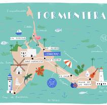 Formentera Mapa Ilustrado. Um projeto de Design, Ilustração e Ilustración vectorial de Tània García Jiménez         - 04.04.2018